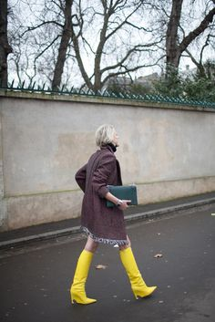 Pops of color seen in street style during Paris Couture Week. [Photo by Kuba Dabrowski]