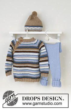 DROPS genser med raglan, bukse og lue med pongpong i Alpaca, kosedyr.