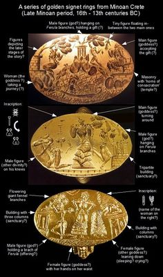 Golden signet rings from  Minoan Crete (16th-13th cent.BC) . You can see scenes of a sort of a divine romance. The protagonist is a female figure, undoubtedly a goddess, who appears as being seduced by a figure with the help of giant fennel (Ferula sp.) branches . The upmost seal shows a depiction of love prototypical to later Greek art : there is a tiny figure floating in-between the two main ones. In Classic Greek art, this exactly how they depict Eros .