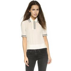 Rag & Bone Dana Polo ($245) ❤ liked on Polyvore featuring tops, vanilla, striped polo shirts, striped top, short sleeve polo shirts, polo shirts and relaxed fit tops