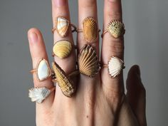 Seashell Stacking Rings | Beach Ring | Recycled Repurposed Copper Electroformed Ring | Mermaid Jewelry | 14K Rose Gold Fill