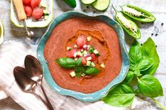 Watermelon Gazpacho with Jalapeño and Basil Olive Oil