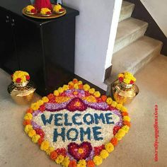 50 Most Beautiful Flower Rangoli Designs (ideas) that you can make during any occasion on the living room or courtyard floors. Simple Rangoli Designs Images, Rangoli Designs Flower, Colorful Rangoli Designs, Rangoli Ideas, Rangoli Designs Diwali, Flower Rangoli, Welcome Home Decorations, Birthday Room Decorations, Diwali Decorations At Home