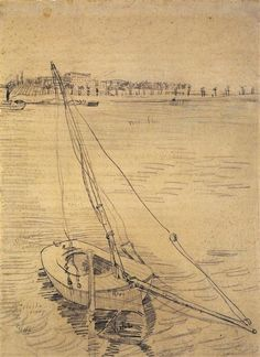 Sailing Boat on the Seine at Asnieres, 1887 by Vincent van Gogh. Post-Impressionism. sketch and study. Van Gogh Museum, Amsterdam, Netherlands
