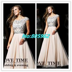 Hot Sale 2014 A Line Scoop With beaded Crystal Cap Sleeve Floor Length Homecoming Dresses Chiffon party Evening Gown HD19 $149.99