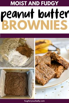 Rich, chocolatey, and easy to make, these peanut butter banana brownies are sure to be a hit with your family! #desserts #brownies #easyrecipes Banana Brownies, Chewy Brownies, Homemade Brownies, Peanut Butter Brownies, Peanut Butter Banana, Homemade Peanut Butter, Creamy Peanut Butter, Honey Recipes, Real Food Recipes