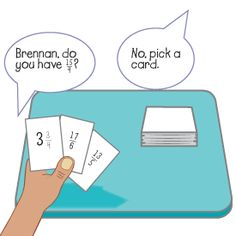 Improper fractions and mixed numbers 'Go Fish' card game.  Students make their own cards and challenge each others' ability to translate improper fractions to mixed numbers and vise versa.