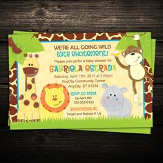 PRINTABLE INVITATION Wild Giraffe Border by LittleBeesGraphics, $12.99