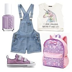 """DDLG play clothes"" by eli-morrow ❤ liked on Polyvore featuring Forever 21, Converse, Essie, little, kawaii, ddlg and littlespace"