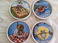 """Gary Patterson Clay Design """"Cats"""" Coasters (4)"""