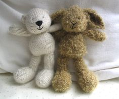 knit mohair and alpaca rabbits