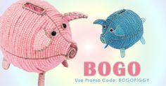 BOGO Piggy Banks. When you purchase one Pink Piggy Bank you will get one Blue Piggy Bank FREE on www.grassrootscreations.com! As always you get FREE SHIPPING on orders over $100 shipping within the mainland US!   Use Promo Code: BOGOPIGGY at checkout. http://shop.grassrootscreations.com/c/beadworx_monthly-special  *Offer is not valid at wholesale cost *Free Shipping does not apply to exclusive sculptures
