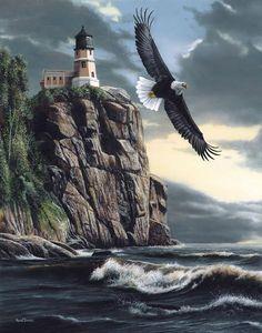 Eagle Over Lighthouse Art Print by Kevin Daniel ~ Split Rock Lighthouse, Lake Superior, Minnesota. Thomas Kinkade, Lighthouse Painting, Lighthouse Pictures, Wildlife Art, Bald Eagle, Eagle Bird, Original Paintings, Scenery, Cross Stitch