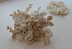Brooch Wedding hair pin pinCrocheted flowers Irish от AlisaSonya