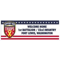 Support Our Troops Medium Personalized Banner - OrientalTrading.com.  Maybe we could use this and say Calvary First Baptist Thanks or Veterans.  (Or something like that)
