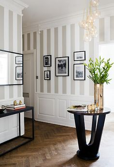 striped walls, wanes coating & herringbone flooring