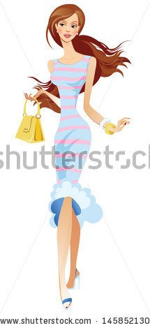 beautiful woman in a striped dress - stock vector id 145852130