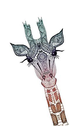 Giraffe Art Print - tribal giraffe tattoo design