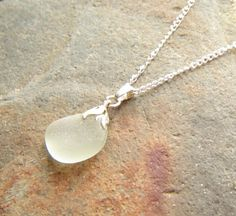 Sea Glass Necklace on Silver Plated Chain by NorthumbriaGems  The pendant has been made in genuine sea glass from the Northumbrian coast.