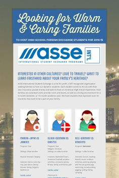 Looking for Warm & Caring Families. Contact ASSE International Student Exchange Programs today! www.host.asse.com
