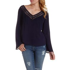 Charlotte Russe Navy Crochet Trim Cut-Out Top by Charlotte Russe at... ($23) ❤ liked on Polyvore