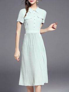 Shop Midi Dresses - Light Green Pleated Short Sleeve Midi Dress online. Discover unique designers fashion at StyleWe.com.