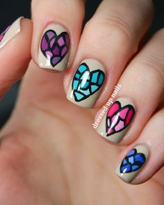Dressed Up Nails - stained glass heart nail art