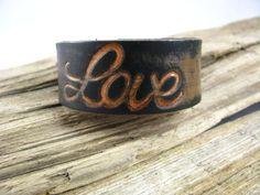 Leather Cuff  Love Bracelet  Leather Jewelry  by lillianschmoo, $20.00