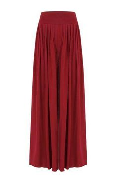 Red Wide Cut Leg Trousers With High-Rise Waist - US$21.95 -YOINS