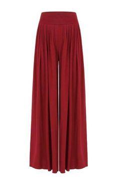 Pantalones rojos corte ancho pierna con la alta subida de la cintura - US $ 21.95 -YOINS