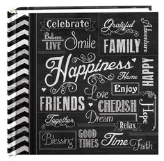"""Pioneer Photo Albums 200-Pocket Chalkboard Printed """"Happiness"""" Theme Photo Album for 4 by 6-Inch Prints"""