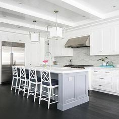Gray Center Island with White Bamboo Counter Stools
