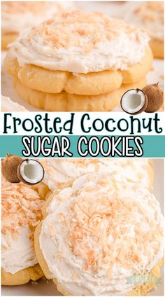 Coconut Sugar Cookies are soft cookies with a lovely coconut flavor! Frosted with a coconut buttercream & topped with toasted coconut for a delicious coconut cookie! #cookie #sugarcookie #coconut #frosted #baking #easyrecipe from FAMILY COOKIE RECIPES Chocolate No Bake Cookies, Chewy Sugar Cookies, Coconut Cookies, Homemade Cookies, Coconut Sugar, Yummy Cookies, Toasted Coconut, Roll Cookies, Cookies For Kids