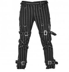 Attitude Clothing - Alternative, Gothic, Punk, Rock Clothing, Shoes, Brands + Accessories - Dead Threads Pinstripe Strap Men's Pants