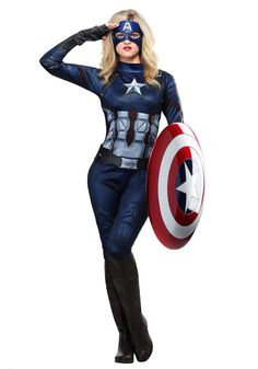 Captain America Womens Costume Halloween SuperHero Female Adult Female MEDIUM #Rubies