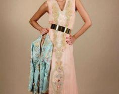 4award.com - caftan rose avec gilet bleu-ciel de meriem belkhiat couture
