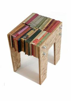book stool/chair by Laura Cahill Recycled Furniture, Recycled Art, Furniture Makeover, Home Furniture, Barrel Furniture, Book Table, Upcycled Home Decor, Book Crafts, Creative Inspiration