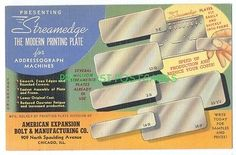 Deco LINEN Ad postcard - STREAMEDGE MODERN PRINTING PLATE American Expansion Bolt & Mfg