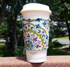 Fabric coffee cozy / cup sleeve / coffee sleeve / coffee koozie -- mandala on Etsy, $6.50