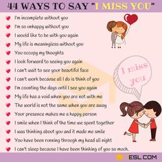 Ways to Say I MISS YOU English Vinglish, Better English, English Writing, English Study, English Words, English Lessons, Learn English, Improve Your English, English Phrases