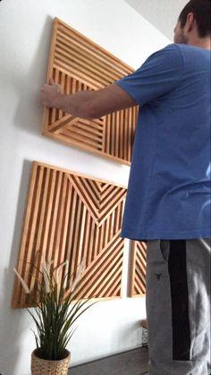 Diy Wall Art, Diy Wall Decor, Wood Wall Art, Home Decor, House Ceiling Design, Living Room Decor Cozy, Fireplace Wall, Home Room Design, Decoration