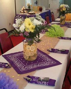 like the bandanas fo like the bandanas for table decorations if she wants country wedding shower (in peach and green of course! Fall Wedding, Rustic Wedding, Our Wedding, Wedding Ideas, Wedding Simple, Wedding Country, Country Wedding Dresses, Wedding Tables, Purple Wedding