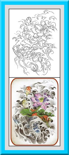 """Printable Japanese Style Coloring Pages 30 High definition coloring pages, black outlines with colored examples. This Japanese style coloring page is from """"Japanese Coloring Book"""" available for $2.89 at Etsy.  Printable coloring pages for adults and big kids."""
