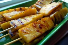Grilled Pineapple Kebabs 1 fresh Pineapple 1/4 t Honey, 3 T Butter, melted; 1 dash Hot Pepper Sauce  Soak kebab sticks in water until they no longer float.Cut off top & bottom of pineapple; hack  lengthwise into eighths.  Trim off middle core & outside prickly side from each eighth.  Mix honey, butter, hot pepper sauce & salt; marinate Skewer pineapple eighths wsticks preheat grill pan.  Grill pineapple for 2 to 3 minutes per side