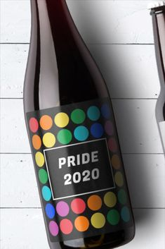 Celebrate Pride Month with this colorful and happy wine bottle label template. Design features rainbow dots and the text: Pride 2020. Customize and print for free at OnlineLabels.com.