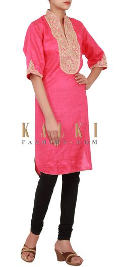 Buy Online from the link below. We ship worldwide (Free Shipping over US$100) http://www.kalkifashion.com/pink-kurti-featuring-in-zari-embroidery-only-on-kalki.html