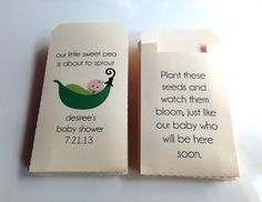 30 - Custom Printed Baby Shower Favor Seed Envelopes - Many Colors Available on Etsy, $33.00