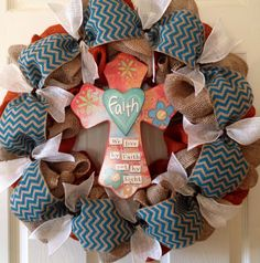 Burlap+Wreath+with+Faith+Cross++Burlap+by+thisandthatbowtique,+$65.00