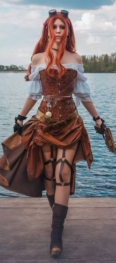Corset Steampunk Pirate A beautiful brown corset that you can wear on your skin or on a vintage shirt. It is perfect for a pirate or any cosplay in adventurous outfit! Steampunk Couture, Moda Steampunk, Steampunk Store, Steampunk Pirate, Gothic Steampunk, Steampunk Clothing, Steampunk Outfits, Gothic Clothing, Steampunk Necklace