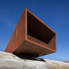 Stories about architecture and design that uses weathering steel, a type of steel alloy with a rusty appearance, such as cladding and sculptures.